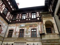 Peles Museum in Sinaia. View of the interior courtyard of Peles Palace in Sinaia. Royal residence before the Second World War in Romania royalty free stock photo