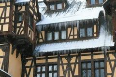 Peles slott i vinter Arkivbilder