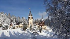 Peles slott - vinter fotografering för bildbyråer