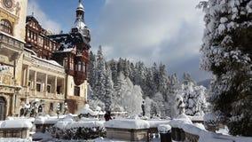 Peles slott - vinter - tecken royaltyfria foton