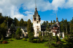 Pelesh Castle. Peleș Castle is a Neo-Renaissance castle in the Carpathian Mountains that was built between 1873 and 1914 Stock Photo