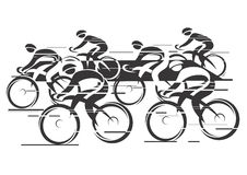 Peleton Cycle race. Black white background  - cycling race with six bike riders. Vector illustrations Royalty Free Stock Photography