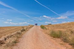 Pelgrims die in Camino DE Santiago, Spanje lopen Royalty-vrije Stock Foto