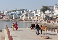 Pelgrims die op Ghat langs het meer van Pushkar Sarovar in Rajasthan, India lopen stock foto's