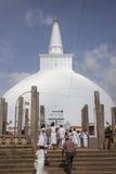 Pelgrims at the sacred stupa at Anurdhapura, Sri Lanka Royalty Free Stock Photography