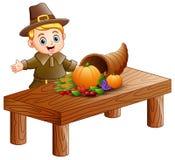 Pelgrimsjongen met hoorn des overvloeds van vruchten en groenten op houten lijst vector illustratie