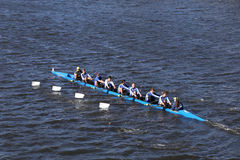 Pelham CRA Crew races in the Head of Charles Regatta Men`s Youth Eights Royalty Free Stock Photos