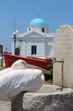 Pelican, church,greek chapel, Greece Stock Photos