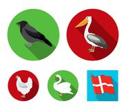 Pelican, crow and other species. Birds set collection icons in flat style vector symbol stock illustration web. Pelican, crow and other species. Birds set Royalty Free Stock Photo