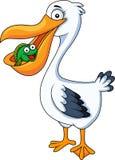 Pelican eating fish. Illustration of pelican cartoon eating fish Royalty Free Stock Image