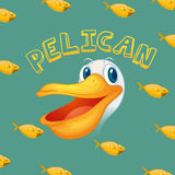 Pelican face and fish. Illustration Stock Images