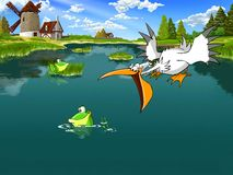 Pelican hunts for the Frog. Cartoon illustration. Pelican hunts for the frog in the lake. Rural landscape with a windmill in the background Royalty Free Stock Photography