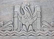 Pelican motif. In concrete trim at the Louisiana State Capitol Building Stock Photo