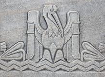 Pelican motif. In concrete trim at the Louisiana State Capitol Building stock photo