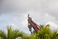 Pelican on Old Rusty Crane Beyond Palm Trees Royalty Free Stock Photo