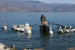 Pelicans and fishermen Stock Photos