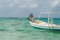 Pelicans resting on a boat, taken in Tulum. Akumal, mexico, beach, beaches, beautiful, birds, blue, breakwaters, camping, chair, cloud, clouds, cloudy, sky royalty free stock images