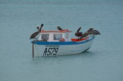 Anchored Wood Fishing Boat in Aruba Royalty Free Stock Photography