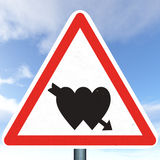 Peligro: ¡Amor a continuación! Imagen de archivo libre de regalías