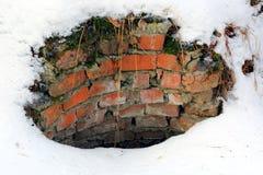 Peligro bien en campo del invierno Fotos de archivo