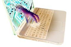 Peligro cibernético del ataque de Ransomware foto de archivo