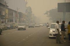 Peligro de la neblina de la contaminación atmosférica en Malasia Fotos de archivo libres de regalías