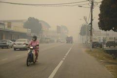 Peligro de la neblina de la contaminación atmosférica en Malasia Imágenes de archivo libres de regalías