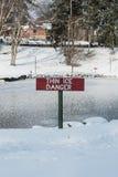 Peligro fino del hielo Imagen de archivo libre de regalías