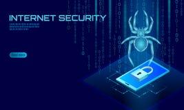 Peligro isométrico del ataque del pirata informático de la araña 3D Concepto del antivirus de la seguridad de los datos del virus stock de ilustración