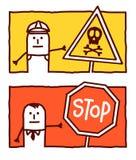 Peligro y parada stock de ilustración