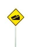 Peligros amarillos señal para arriba a la colina Fotos de archivo
