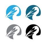 Pelikaan om emblemen geplaatst vectorontwerp Stock Foto's