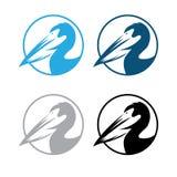 Pelikaan om emblemen geplaatst vectorontwerp Stock Afbeeldingen