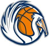 Pelikan beflügelt den Retro- Basketball lizenzfreie abbildung