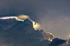 Pelikan fliegt in schönen Himmel mit Wolken und buntem prisma L Stockfoto