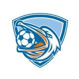 Pelikan piłki nożnej piłka W usta osłonie Retro ilustracja wektor