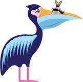 Pelikan som isoleras med fiskvektorillustrationen Arkivfoto
