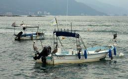 Pelikane, die auf kleinen Fischerbooten in Puerto Vallarta sitzen stockfotos