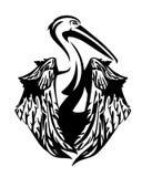 Pelikanvogel mit gefaltetem Flügelvektordesign Lizenzfreie Stockbilder