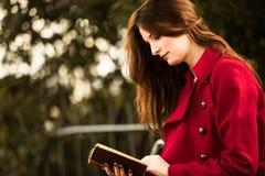 Pelirrojo hermoso que lee un libro Imágenes de archivo libres de regalías