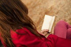 Pelirrojo hermoso que lee un libro Foto de archivo libre de regalías