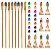 Pelita color type set. This illustration is drawing Islamic Pelita oil lamp before fire in outdoor and indoor with isolated set and colorful color stock illustration