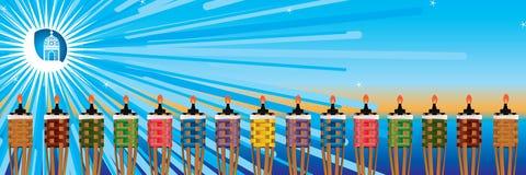 Pelita stand light banner. This illustration is drawing fresh blue color moon with Ramadan lantern and Islam Pelita oil lamp stick light celebrating the banner vector illustration