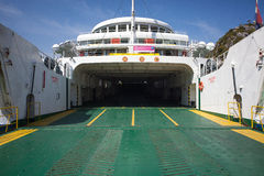 Peljesac, Croatia 16th July 2014. - Ferry boat waiting for vehicles to enter and to ship to Korcula island Royalty Free Stock Images