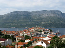 Peljesac with Korcula in front Stock Photos