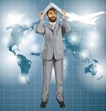 Pellami dell'uomo di affari di vettore sotto il computer portatile 03 Immagine Stock