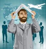 Pellami dell'uomo di affari di vettore sotto il computer portatile royalty illustrazione gratis