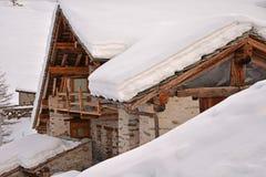Pellaud alpine village in winter, Rhemes valley, Aosta, Italy royalty free stock photo