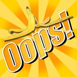 Pelle di banana di Oops Fotografia Stock