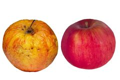 Pelle difettosa & buona isolata delle mele, Fotografia Stock Libera da Diritti